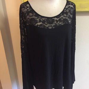 Torrid lace Detail blouse knit top black Sz 2X